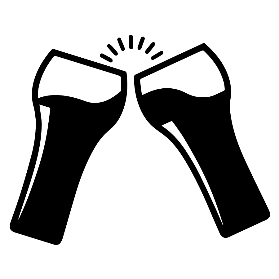 two beer glass silhouette toasting