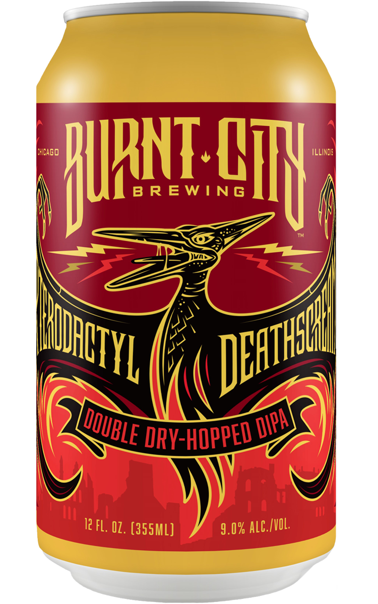 Burnt City Brewing Pterodactyl Deathscream Double Dry-Hopped DIPA can
