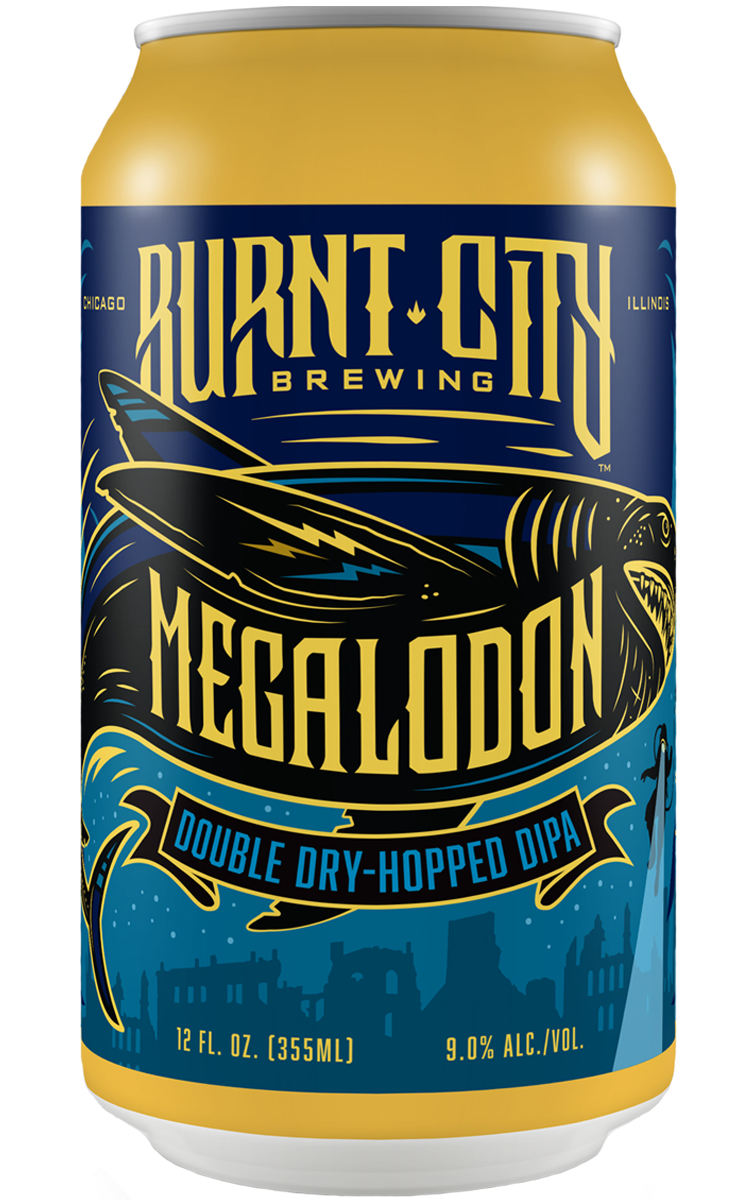 Burnt City Brewing Megalodon Double Dry-Hopped DIPA can